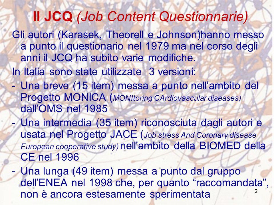 2 Il JCQ (Job Content Questionnarie) Gli autori (Karasek, Theorell e Johnson)hanno messo a punto il questionario nel 1979 ma nel corso degli anni il J