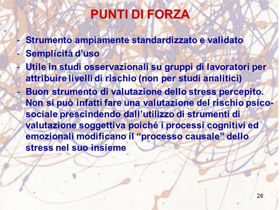 26 PUNTI DI FORZA -Strumento ampiamente standardizzato e validato -Semplicità d'uso -Utile in studi osservazionali su gruppi di lavoratori per attribu