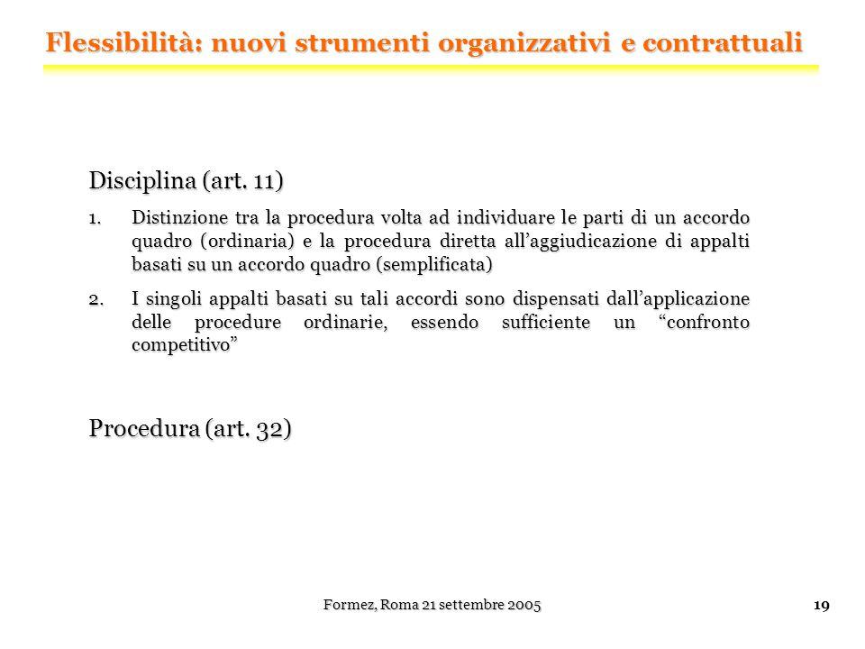 Formez, Roma 21 settembre 200519 Disciplina (art.