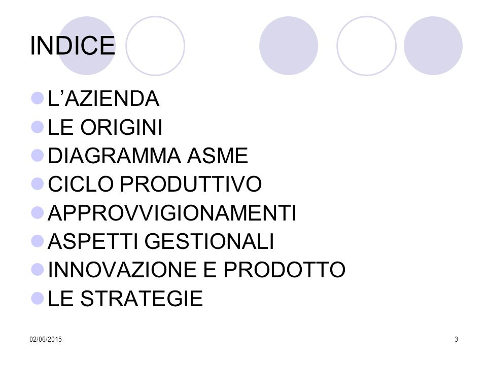 02/06/20153 INDICE L'AZIENDA LE ORIGINI DIAGRAMMA ASME CICLO PRODUTTIVO APPROVVIGIONAMENTI ASPETTI GESTIONALI INNOVAZIONE E PRODOTTO LE STRATEGIE