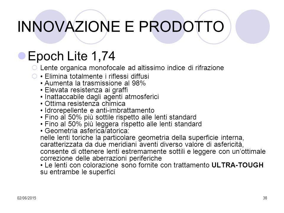 02/06/201538 INNOVAZIONE E PRODOTTO Epoch Lite 1,74  Lente organica monofocale ad altissimo indice di rifrazione  Elimina totalmente i riflessi diff