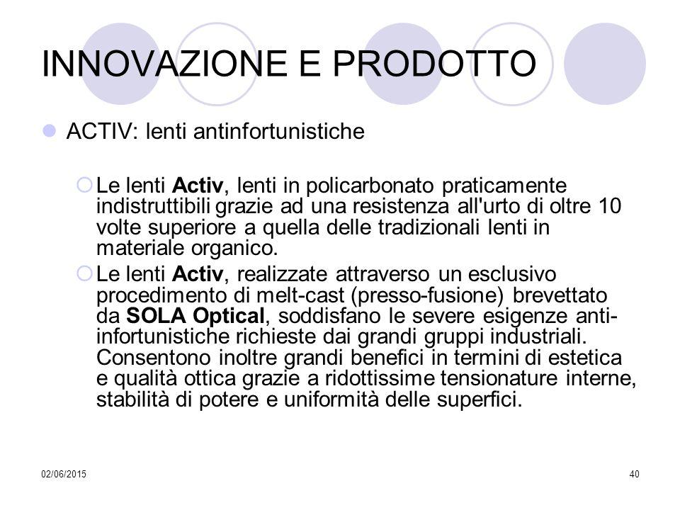 02/06/201540 INNOVAZIONE E PRODOTTO ACTIV: lenti antinfortunistiche  Le lenti Activ, lenti in policarbonato praticamente indistruttibili grazie ad un