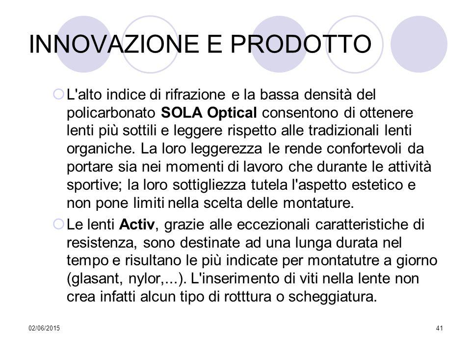 02/06/201541 INNOVAZIONE E PRODOTTO  L'alto indice di rifrazione e la bassa densità del policarbonato SOLA Optical consentono di ottenere lenti più s