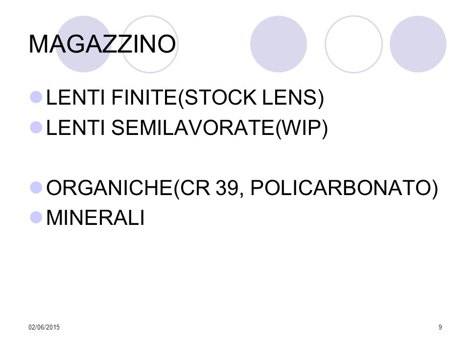 02/06/20159 MAGAZZINO LENTI FINITE(STOCK LENS) LENTI SEMILAVORATE(WIP) ORGANICHE(CR 39, POLICARBONATO) MINERALI