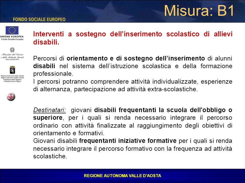 REGIONE AUTONOMA VALLE D'AOSTA Misura: B1 Interventi a sostegno dell'inserimento scolastico di allievi disabili.