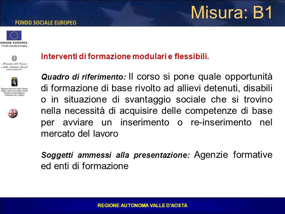 REGIONE AUTONOMA VALLE D'AOSTA Misura: B1 Interventi di formazione modulari e flessibili.