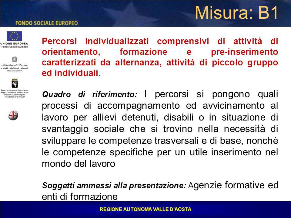 REGIONE AUTONOMA VALLE D'AOSTA Misura: B1 Percorsi individualizzati comprensivi di attività di orientamento, formazione e pre-inserimento caratterizzati da alternanza, attività di piccolo gruppo ed individuali.