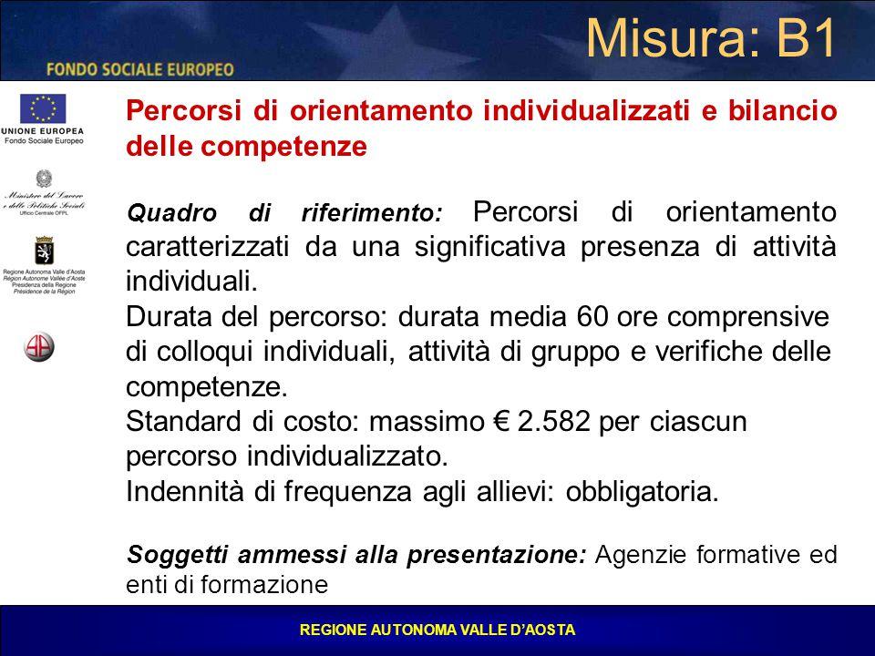 REGIONE AUTONOMA VALLE D'AOSTA Misura: B1 Percorsi di orientamento individualizzati e bilancio delle competenze Quadro di riferimento: Percorsi di orientamento caratterizzati da una significativa presenza di attività individuali.