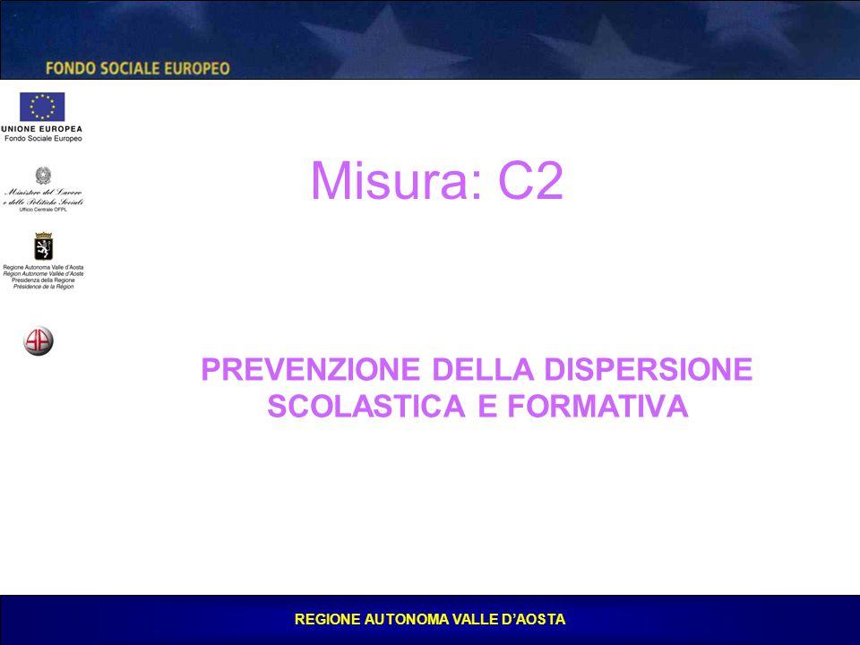 REGIONE AUTONOMA VALLE D'AOSTA PREVENZIONE DELLA DISPERSIONE SCOLASTICA E FORMATIVA Misura: C2