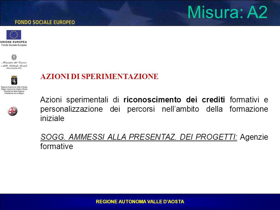 REGIONE AUTONOMA VALLE D'AOSTA Misura: A2 AZIONI DI SPERIMENTAZIONE Azioni sperimentali di riconoscimento dei crediti formativi e personalizzazione dei percorsi nell'ambito della formazione iniziale SOGG.