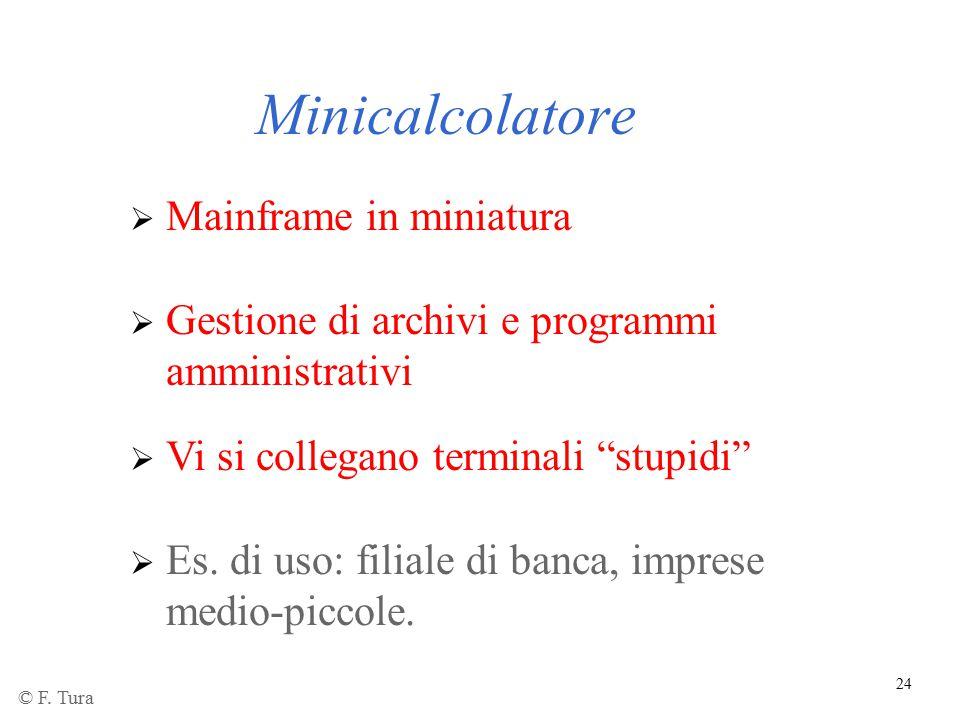 """24 Minicalcolatore  Mainframe in miniatura  Gestione di archivi e programmi amministrativi  Vi si collegano terminali """"stupidi""""  Es. di uso: filia"""