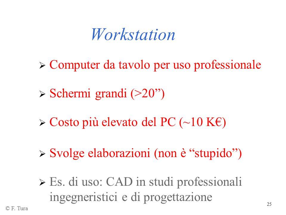 """25 Workstation  Computer da tavolo per uso professionale  Schermi grandi (>20"""")  Costo più elevato del PC (~10 K€)  Es. di uso: CAD in studi profe"""
