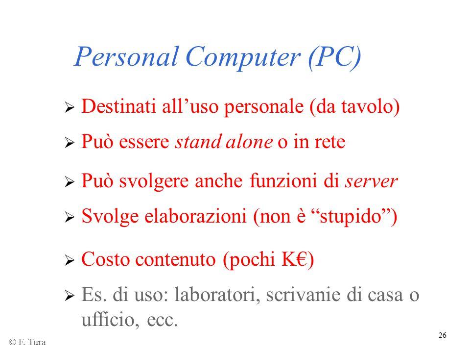 26 Personal Computer (PC)  Destinati all'uso personale (da tavolo)  Può essere stand alone o in rete  Può svolgere anche funzioni di server  Es. d