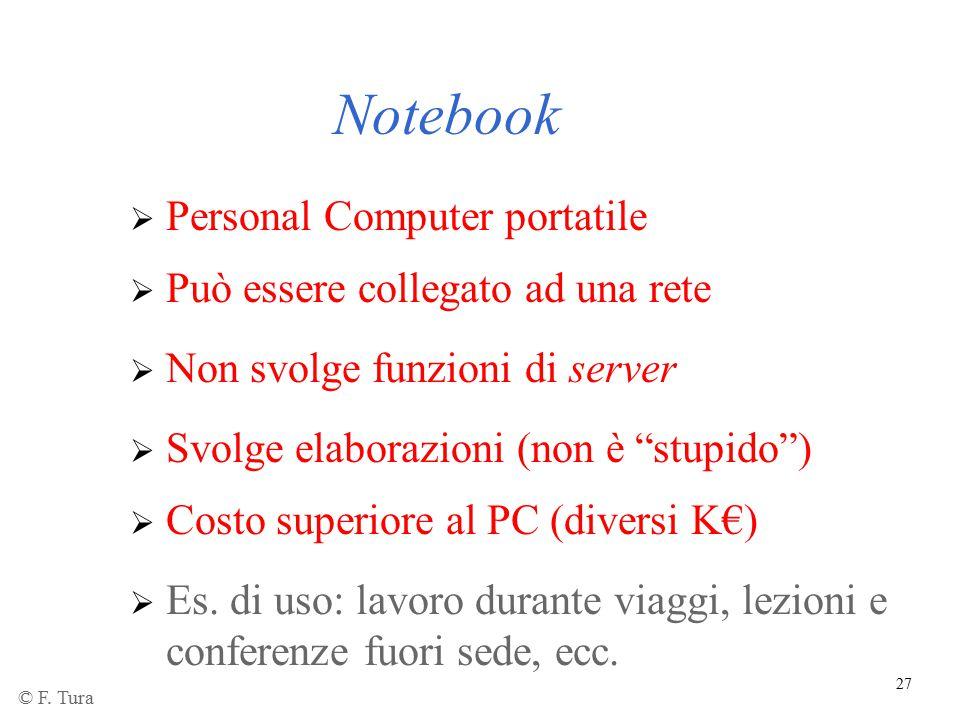 27 Notebook  Personal Computer portatile  Può essere collegato ad una rete  Non svolge funzioni di server  Es. di uso: lavoro durante viaggi, lezi
