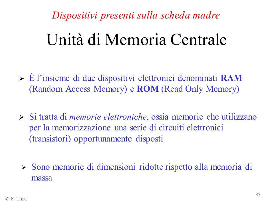 37 Unità di Memoria Centrale  È l'insieme di due dispositivi elettronici denominati RAM (Random Access Memory) e ROM (Read Only Memory) Dispositivi p