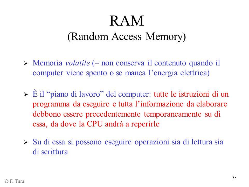 """38 RAM (Random Access Memory)  Memoria volatile (= non conserva il contenuto quando il computer viene spento o se manca l'energia elettrica)  È il """""""