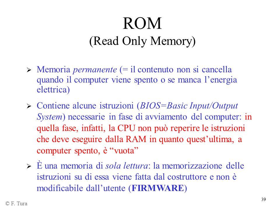 39 ROM (Read Only Memory)  Memoria permanente (= il contenuto non si cancella quando il computer viene spento o se manca l'energia elettrica)  È una
