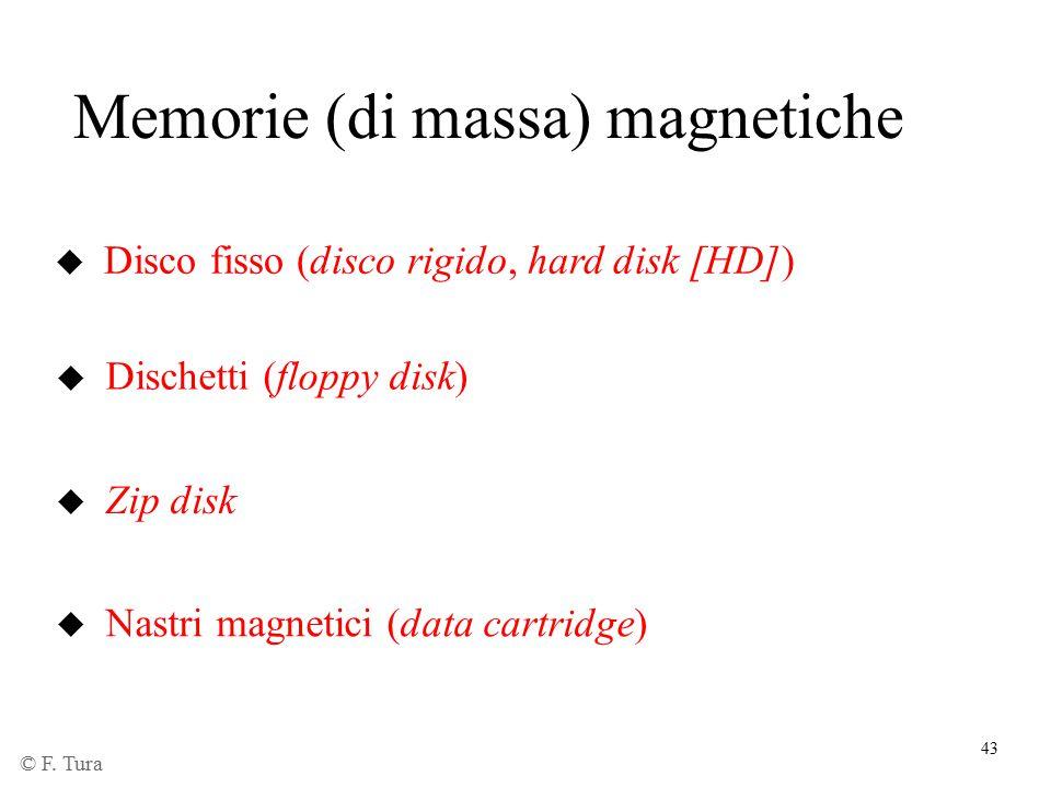 43 Memorie (di massa) magnetiche u Disco fisso (disco rigido, hard disk [HD]) u Dischetti (floppy disk) u Zip disk u Nastri magnetici (data cartridge)