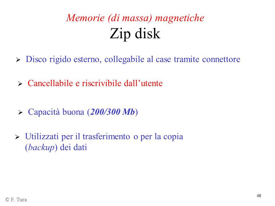 46  Capacità buona (200/300 Mb)  Disco rigido esterno, collegabile al case tramite connettore  Cancellabile e riscrivibile dall'utente Memorie (di