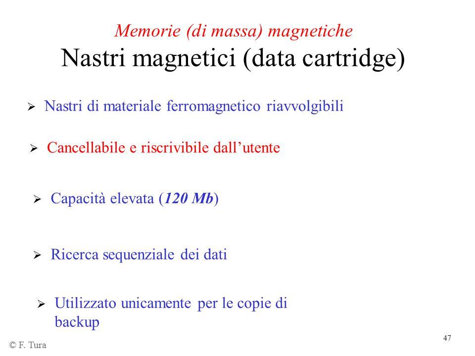 47  Capacità elevata (120 Mb)  Nastri di materiale ferromagnetico riavvolgibili  Cancellabile e riscrivibile dall'utente Memorie (di massa) magneti