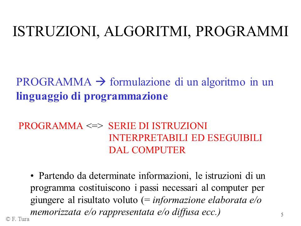 5 PROGRAMMA  formulazione di un algoritmo in un linguaggio di programmazione PROGRAMMA SERIE DI ISTRUZIONI INTERPRETABILI ED ESEGUIBILI DAL COMPUTER