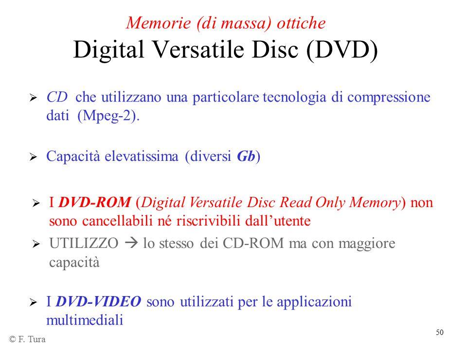 50 Memorie (di massa) ottiche Digital Versatile Disc (DVD)  Capacità elevatissima (diversi Gb)  I DVD-ROM (Digital Versatile Disc Read Only Memory)