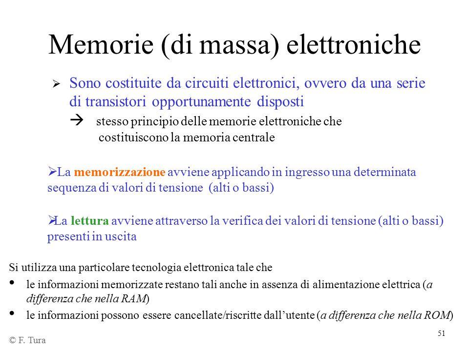 51 Memorie (di massa) elettroniche  Sono costituite da circuiti elettronici, ovvero da una serie di transistori opportunamente disposti  stesso prin