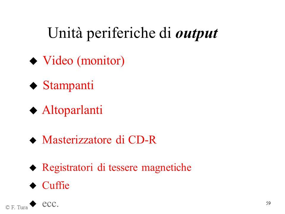 59 Unità periferiche di output u Video (monitor) u Stampanti u Altoparlanti u ecc. u Masterizzatore di CD-R u Registratori di tessere magnetiche u Cuf
