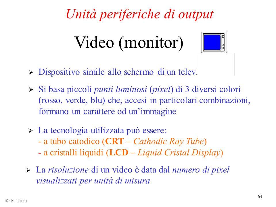 64 Unità periferiche di output  Dispositivo simile allo schermo di un televisore Video (monitor)  Si basa piccoli punti luminosi (pixel) di 3 divers