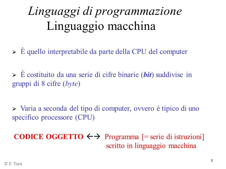 8  È quello interpretabile da parte della CPU del computer  È costituito da una serie di cifre binarie (bit) suddivise in gruppi di 8 cifre (byte) L
