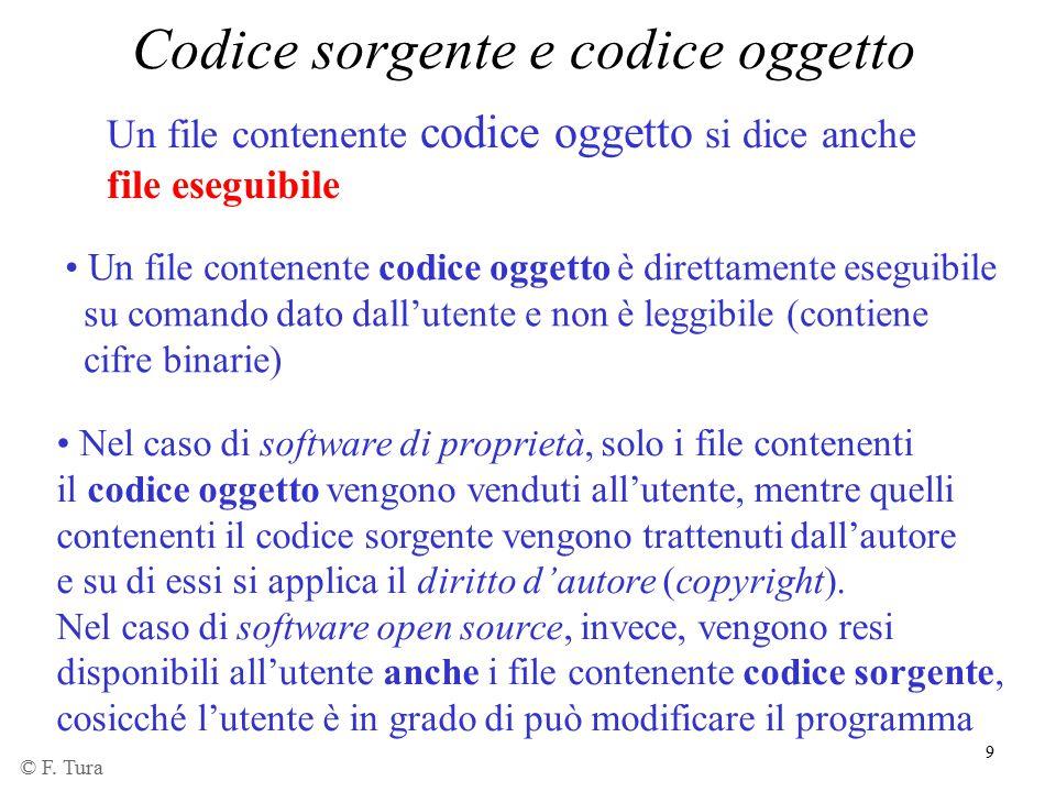 9 Codice sorgente e codice oggetto Un file contenente codice oggetto si dice anche file eseguibile Un file contenente codice oggetto è direttamente es