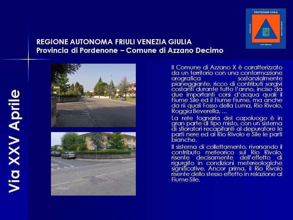 REGIONE AUTONOMA FRIULI VENEZIA GIULIA Provincia di Pordenone – Comune di Azzano Decimo Il Comune di Azzano X è caratterizzato da un territorio con un