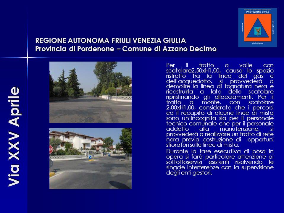 REGIONE AUTONOMA FRIULI VENEZIA GIULIA Provincia di Pordenone – Comune di Azzano Decimo Per il tratto a valle con scatolare2,50xH1,00, causa lo spazio