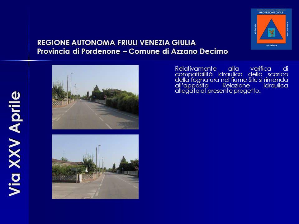 REGIONE AUTONOMA FRIULI VENEZIA GIULIA Provincia di Pordenone – Comune di Azzano Decimo Relativamente alla verifica di compatibilità idraulica dello s