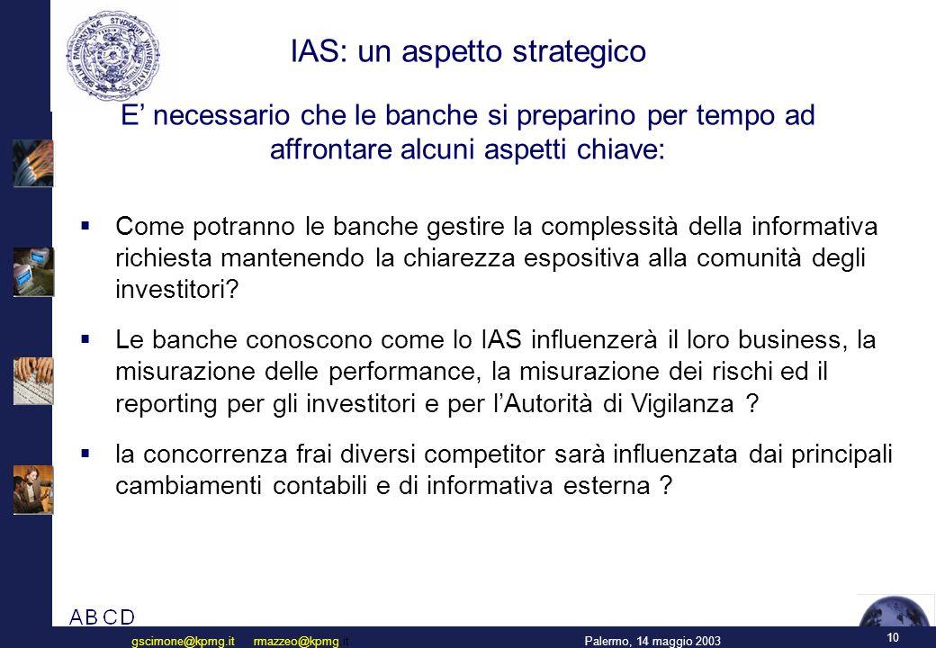 10 Palermo, 14 maggio 2003gscimone@kpmg.it rmazzeo@kpmg.it  Come potranno le banche gestire la complessità della informativa richiesta mantenendo la chiarezza espositiva alla comunità degli investitori.