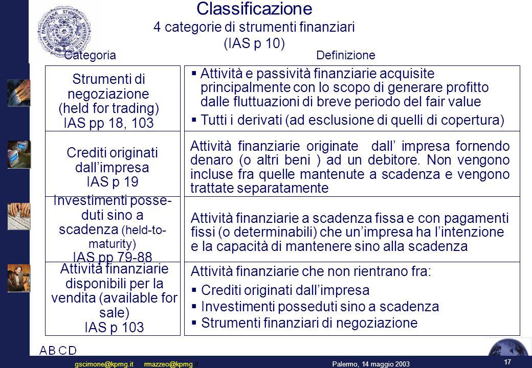 17 Palermo, 14 maggio 2003gscimone@kpmg.it rmazzeo@kpmg.it CategoriaDefinizione Classificazione 4 categorie di strumenti finanziari (IAS p 10) Strumenti di negoziazione (held for trading) IAS pp 18, 103 Crediti originati dall'impresa IAS p 19 Investimenti posse- duti sino a scadenza (held-to- maturity) IAS pp 79-88 Attività finanziarie disponibili per la vendita (available for sale) IAS p 103  Attività e passività finanziarie acquisite principalmente con lo scopo di generare profitto dalle fluttuazioni di breve periodo del fair value  Tutti i derivati (ad esclusione di quelli di copertura) Attività finanziarie originate dall' impresa fornendo denaro (o altri beni ) ad un debitore.