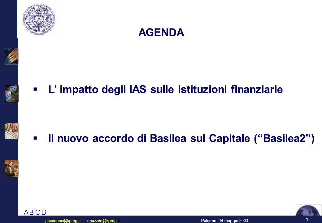 1 Palermo, 14 maggio 2003gscimone@kpmg.it rmazzeo@kpmg.it AGENDA  L' impatto degli IAS sulle istituzioni finanziarie  Il nuovo accordo di Basilea sul Capitale ( Basilea2 )