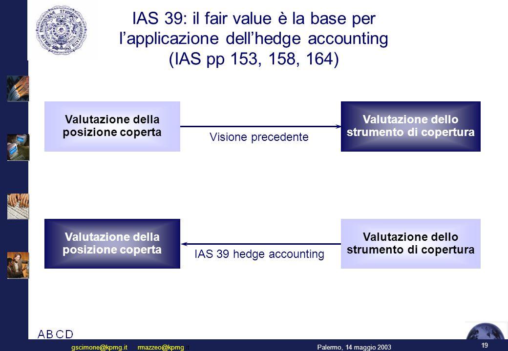19 Palermo, 14 maggio 2003gscimone@kpmg.it rmazzeo@kpmg.it IAS 39: il fair value è la base per l'applicazione dell'hedge accounting (IAS pp 153, 158, 164) Valutazione dello strumento di copertura Visione precedente IAS 39 hedge accounting Valutazione della posizione coperta Valutazione dello strumento di copertura