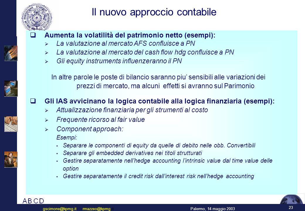 23 Palermo, 14 maggio 2003gscimone@kpmg.it rmazzeo@kpmg.it Il nuovo approccio contabile  Aumenta la volatilità del patrimonio netto (esempi):  La valutazione al mercato AFS confluisce a PN  La valutazione al mercato del cash flow hdg confluisce a PN  Gli equity instruments influenzeranno il PN In altre parole le poste di bilancio saranno piu' sensibili alle variazioni dei prezzi di mercato, ma alcuni effetti si avranno sul Parimonio  Gli IAS avvicinano la logica contabile alla logica finanziaria (esempi):  Attualizzazione finanziaria per gli strumenti al costo  Frequente ricorso al fair value  Component approach: Esempi: Separare le componenti di equity da quelle di debito nelle obb.
