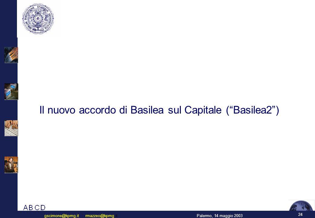 """24 Palermo, 14 maggio 2003gscimone@kpmg.it rmazzeo@kpmg.it Il nuovo accordo di Basilea sul Capitale (""""Basilea2"""")"""