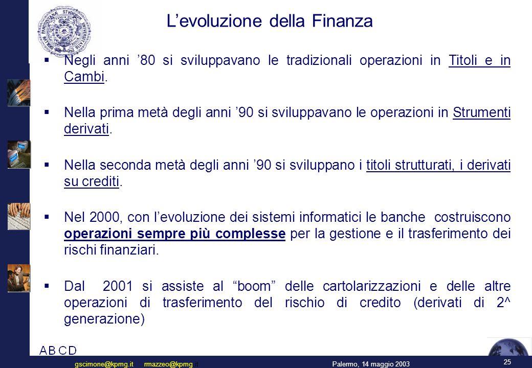 25 Palermo, 14 maggio 2003gscimone@kpmg.it rmazzeo@kpmg.it L'evoluzione della Finanza  Negli anni '80 si sviluppavano le tradizionali operazioni in Titoli e in Cambi.