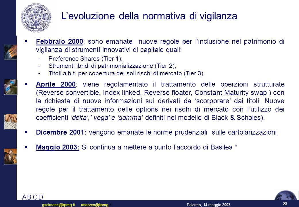 28 Palermo, 14 maggio 2003gscimone@kpmg.it rmazzeo@kpmg.it L'evoluzione della normativa di vigilanza  Febbraio 2000: sono emanate nuove regole per l'inclusione nel patrimonio di vigilanza di strumenti innovativi di capitale quali: - Preference Shares (Tier 1); - Strumenti ibridi di patrimonializzazione (Tier 2); - Titoli a b.t.