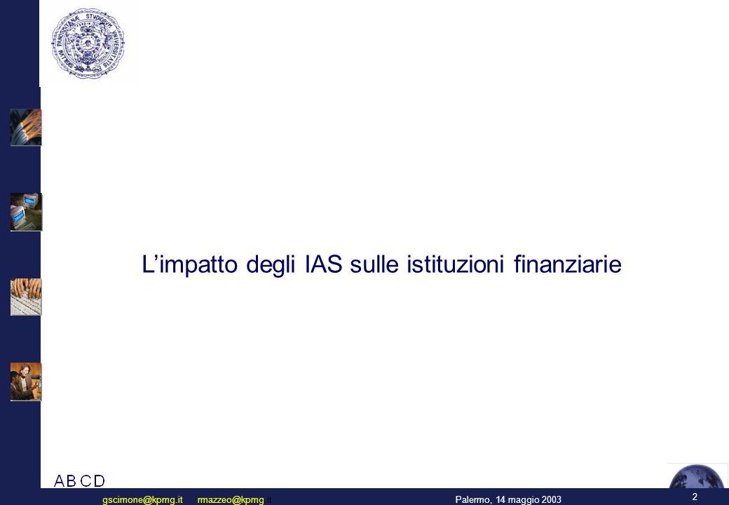 2 Palermo, 14 maggio 2003gscimone@kpmg.it rmazzeo@kpmg.it L'impatto degli IAS sulle istituzioni finanziarie