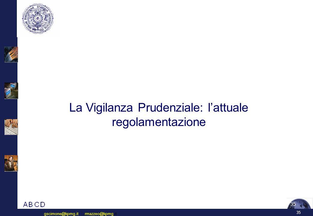 35 gscimone@kpmg.it rmazzeo@kpmg.it 35 La Vigilanza Prudenziale: l'attuale regolamentazione
