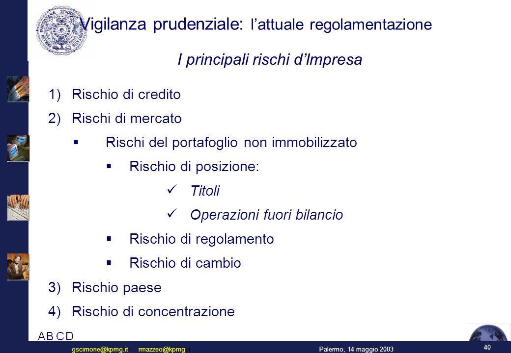 40 Palermo, 14 maggio 2003gscimone@kpmg.it rmazzeo@kpmg.it Vigilanza prudenziale: l'attuale regolamentazione  Rischio di credito  Rischi di mercato  Rischi del portafoglio non immobilizzato  Rischio di posizione: Titoli Operazioni fuori bilancio  Rischio di regolamento  Rischio di cambio  Rischio paese  Rischio di concentrazione I principali rischi d'Impresa