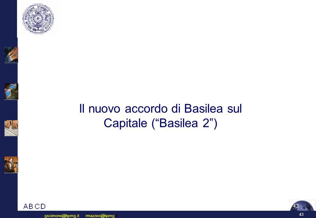43 gscimone@kpmg.it rmazzeo@kpmg.it 43 Il nuovo accordo di Basilea sul Capitale ( Basilea 2 )