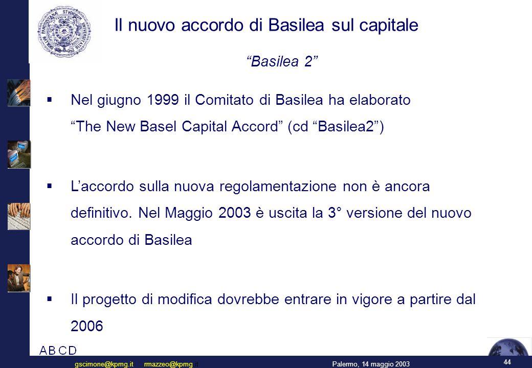 44 Palermo, 14 maggio 2003gscimone@kpmg.it rmazzeo@kpmg.it Il nuovo accordo di Basilea sul capitale  Nel giugno 1999 il Comitato di Basilea ha elaborato The New Basel Capital Accord (cd Basilea2 )  L'accordo sulla nuova regolamentazione non è ancora definitivo.