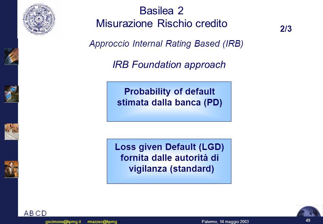 49 Palermo, 14 maggio 2003gscimone@kpmg.it rmazzeo@kpmg.it Basilea 2 Misurazione Rischio credito IRB Foundation approach Approccio Internal Rating Bas