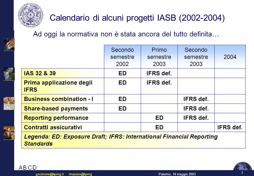 7 Palermo, 14 maggio 2003gscimone@kpmg.it rmazzeo@kpmg.it Calendario di alcuni progetti IASB (2002-2004) Secondo semestre 2002 Primo semestre 2003 Secondo semestre 2003 2004 IAS 32 & 39 EDIFRS def.