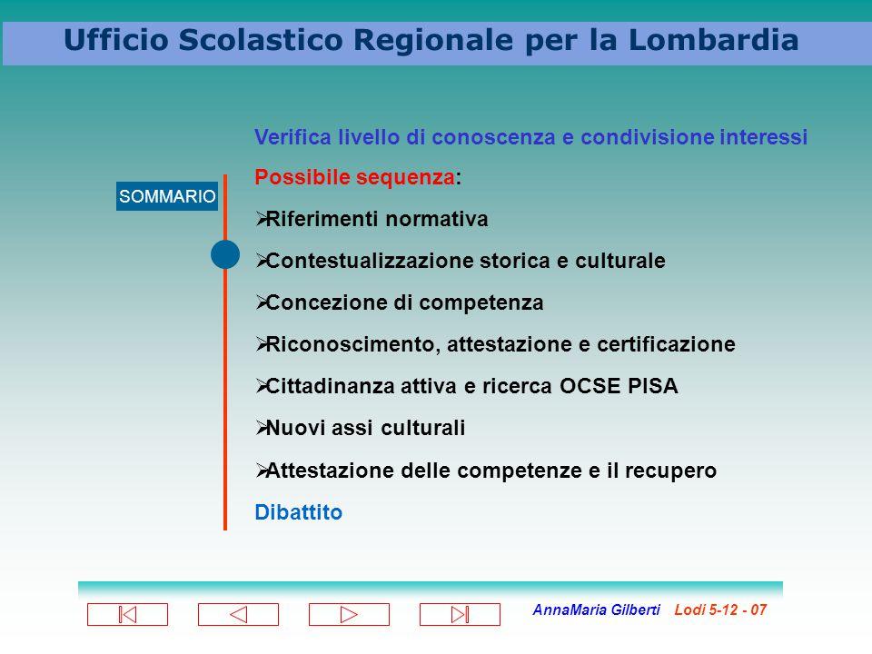 AnnaMaria Gilberti Lodi 5-12 - 07 Ufficio Scolastico Regionale per la Lombardia SOMMARIO Verifica livello di conoscenza e condivisione interessi Possi